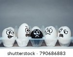 Faces On Chicken Eggs In The...
