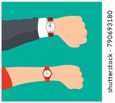 wrist watch on man and woman... | Shutterstock .eps vector #790693180