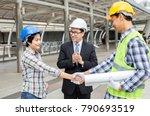 engineers are shaking hands... | Shutterstock . vector #790693519