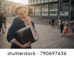 busy woman is in a hurry  she... | Shutterstock . vector #790697656
