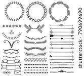 vector set of doodle decorative ... | Shutterstock .eps vector #790699690