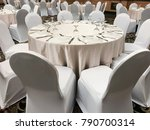 banquet white table set up | Shutterstock . vector #790700314