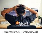 despair man on down stock... | Shutterstock . vector #790702930