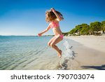 cute happy little girl running... | Shutterstock . vector #790703074