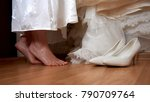 wedding preparation close feet... | Shutterstock . vector #790709764