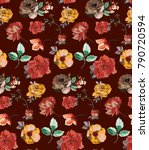 pattern with vintage flowers.... | Shutterstock .eps vector #790720594