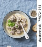 lamb meatballs in a yogurt... | Shutterstock . vector #790724998