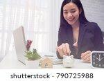 beautiful young business girl... | Shutterstock . vector #790725988