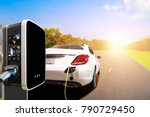charging an electric car on... | Shutterstock . vector #790729450