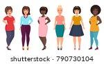vector plus size woman fashion. ... | Shutterstock .eps vector #790730104