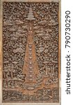Small photo of The wooden door carve in thailand temple