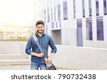 happy indian male student... | Shutterstock . vector #790732438