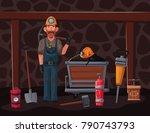 coal mining. miner character... | Shutterstock .eps vector #790743793