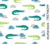 seamless watercolor crocodile... | Shutterstock .eps vector #790748299