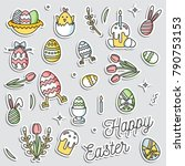 colorful vector patch badges... | Shutterstock .eps vector #790753153