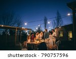 friends making big party in the ... | Shutterstock . vector #790757596
