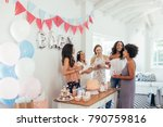 baby shower. group of diverse... | Shutterstock . vector #790759816