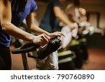 cycling class. fat burning... | Shutterstock . vector #790760890