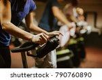 cycling class. fat burning... | Shutterstock . vector #790760890