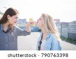 two beautiful young women... | Shutterstock . vector #790763398