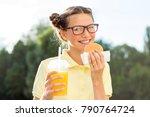 cute smiling teen schoolgirl... | Shutterstock . vector #790764724
