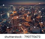 network connection  with aerial ... | Shutterstock . vector #790770673