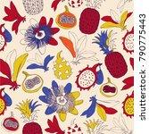 tropical pattern design  fruits ...   Shutterstock .eps vector #790775443