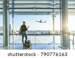 young casual female traveler at ... | Shutterstock . vector #790776163
