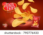 spicy chilli potato chips... | Shutterstock .eps vector #790776433