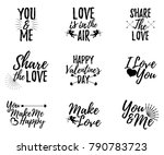 set of love label. font with... | Shutterstock .eps vector #790783723