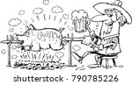pig roasting over a fire | Shutterstock .eps vector #790785226
