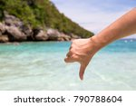 close up of thumbs down and...   Shutterstock . vector #790788604