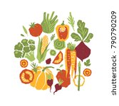 papercut style vegetables... | Shutterstock .eps vector #790790209