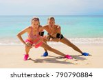 fitness pals streching after... | Shutterstock . vector #790790884