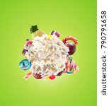 whipped round cream with... | Shutterstock . vector #790791658