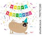 happy birthday greeting card... | Shutterstock .eps vector #790792180