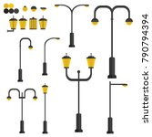 set of different street lights | Shutterstock .eps vector #790794394