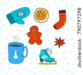 winter set. hot drinks  socks... | Shutterstock .eps vector #790797298