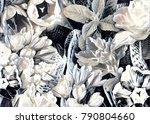 garden flower collage | Shutterstock . vector #790804660