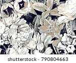 garden floral collage    Shutterstock . vector #790804663