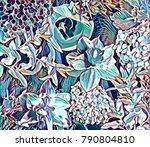 garden flower collage | Shutterstock . vector #790804810