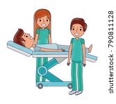 dental stretcher with patient... | Shutterstock .eps vector #790811128
