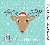 reindeeer head in santa claus... | Shutterstock . vector #790811140