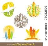 vector set   surfing emblems  ... | Shutterstock .eps vector #79082503