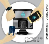 contactless payment transaction ... | Shutterstock .eps vector #790825840