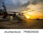 silhouette of helicopter in the ... | Shutterstock . vector #790834030