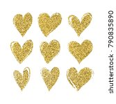 set of hand drawn hearts with... | Shutterstock .eps vector #790835890