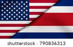 flag of usa and costa rica  | Shutterstock . vector #790836313
