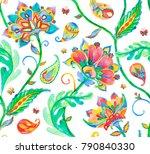 rainbow paisley  flores ... | Shutterstock . vector #790840330