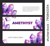 ultraviolet amethyst gemstones...   Shutterstock .eps vector #790843354